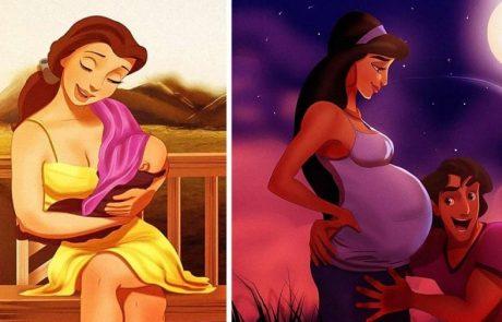 """כך יראו הנסיכות של """"דיסני"""" אם יהפכו לאמהות"""