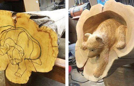 אמן מגלף מבולי עץ בעלי חיים שנראים כל כך מציאותיים, כאילו שהם קפצו החוצה מתוך היער
